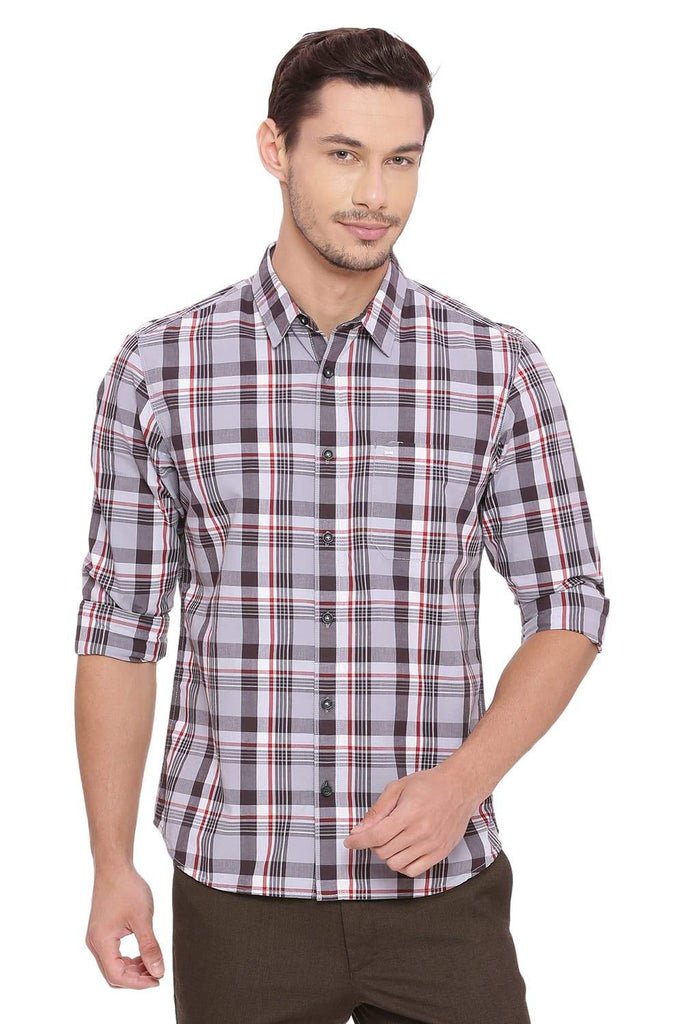 BASICS SLIM FIT TITANIUM GREY CHECKS SHIRT-18BSH38769 - BasicsLife
