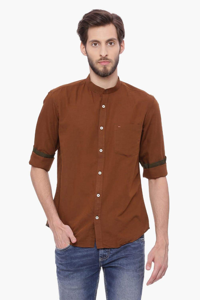 BASICS SLIM FIT TOFFEE BROWN COTTON LINEN SHIRT-18BSH38469 (4491123720273)
