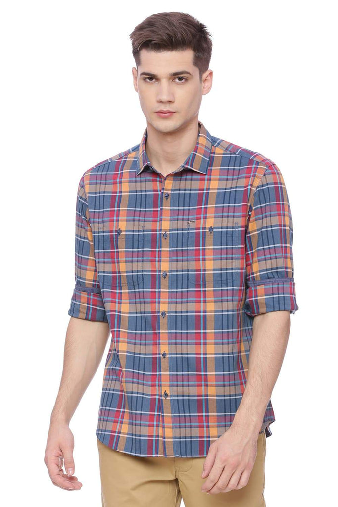 BASICS SLIM FIT TOPAZ ORANGE CHECKS SHIRT-18BSH37630 (4491050582097)