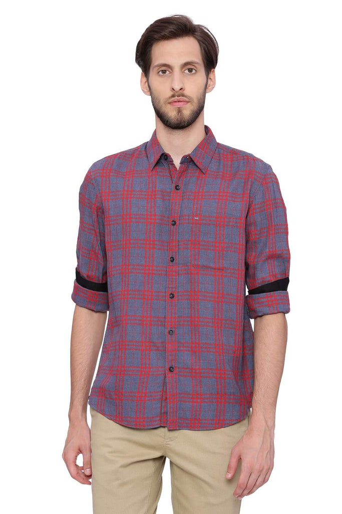 BASICS SLIM FIT TRUE RED CHECKS SHIRT-18BSH38870 - BasicsLife