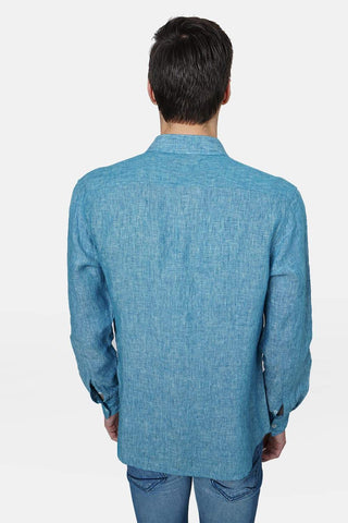 BASICS SLIM FIT TURQUOISE LINEN SHIRT-17BCSH38139 (4490951360593)