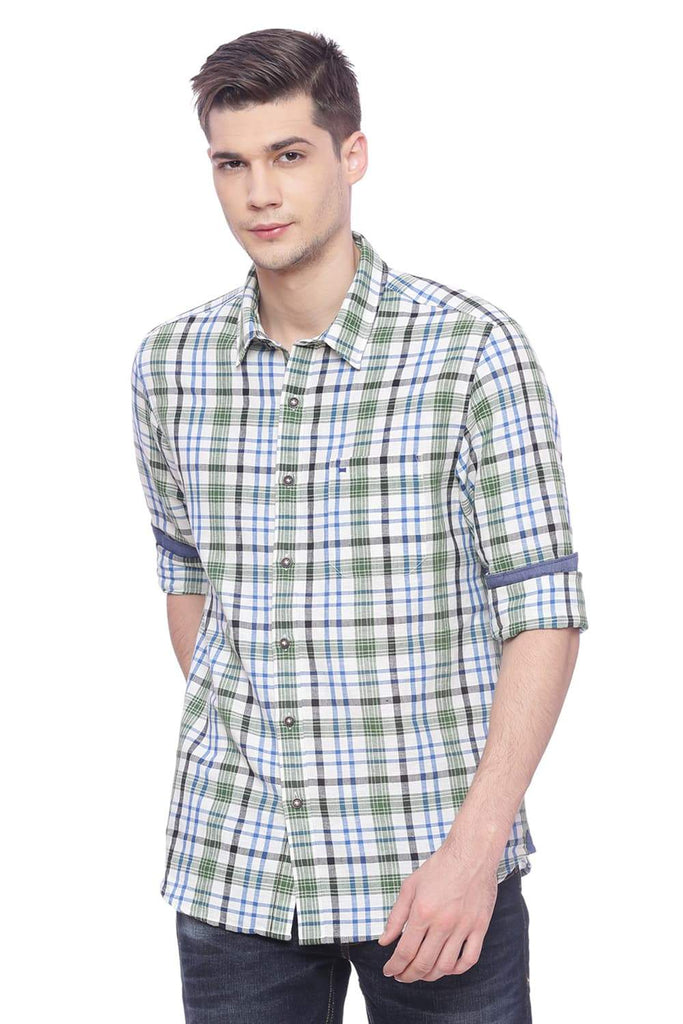 BASICS SLIM FIT VINEYARD GREEN CHECKS SHIRT-18BSH37125 (4491044716625)