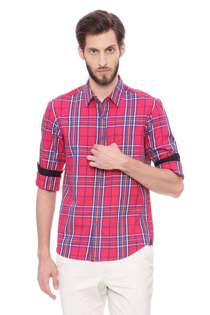 Basics Slim Fit Virtual Pink Checks Shirt Front