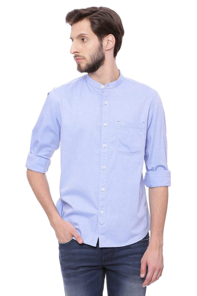 BASICS SLIM FIT VISTA BLUE NEPS SHIRT-18BSH38994 (4491497570385)