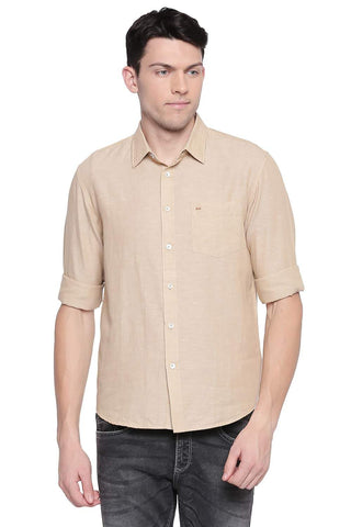 BASICS SLIM FIT WARM KHAKI COTTON LINEN SHIRT-20BSH43356 - BasicsLife