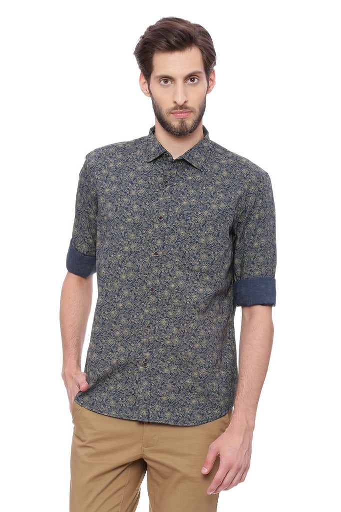 BASICS SLIM FIT WHEAT YELLOW PRINTED SHIRT-18BSH39215