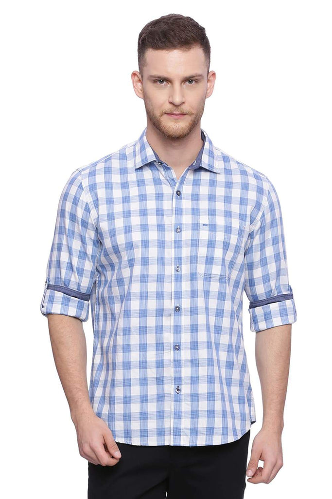 BASICS SLIM FIT WHISPER WHITE CHECKS SHIRT-18BSH37729 (4491079647313)