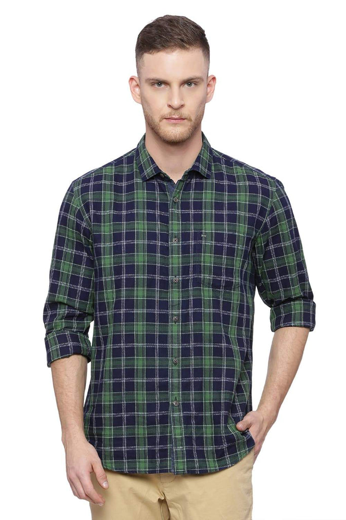 BASICS SLIM FIT WILLOW BOUGH CHECKS SHIRT-18BSH37335 - BasicsLife