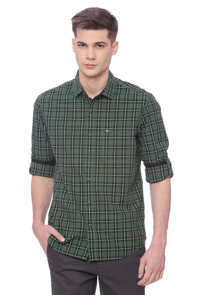 BASICS SLIM FIT WILLOW BOUGH GREEN CHECKS SHIRT-18BSH37578 (4491075649617)