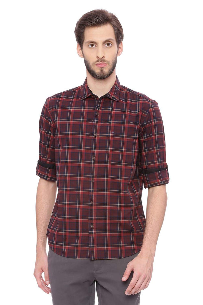 BASICS SLIM FIT WINDSOR RED CHECKS SHIRT-18BSH38793 (4491385569361)