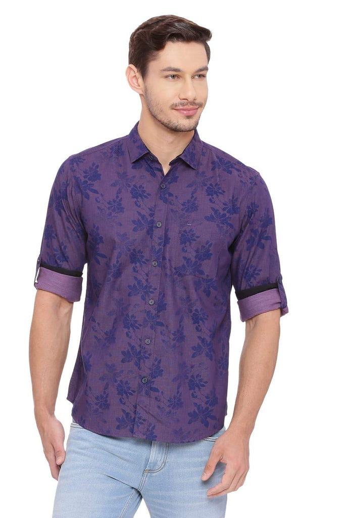 BASICS SLIM FIT WINEBERRY PURPLE PRINTED SHIRT-18BSH39202 (4491128897617)