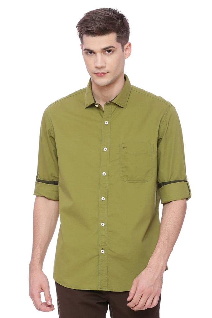 BASICS SLIM FIT WOODBINE GREEN TWILL SHIRT-18BSH37491 - BasicsLife