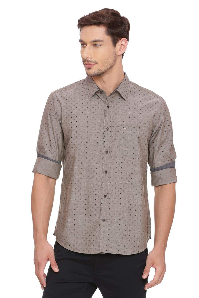 BASICS SLIM FIT WOODSMOKE BROWN CHAMBRAY SHIRT-18BSH39230 (4491139874897)