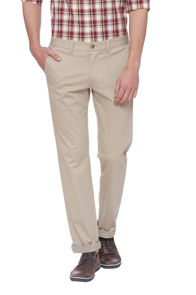 BASICS TAPERED FIT ALFALFA GREEN STRETCH TROUSER-18BTR38277 (4491107041361)