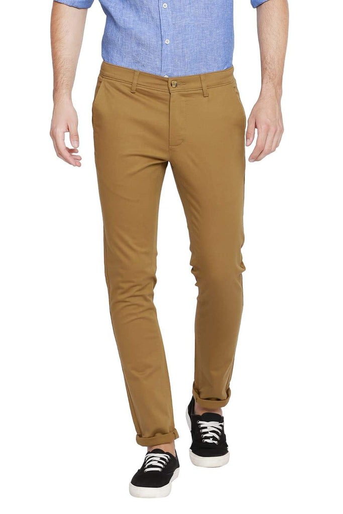 BASICS TAPERED FIT ANTELOPE KHAKI STRETCH TROUSER-18BTR39104 - BasicsLife