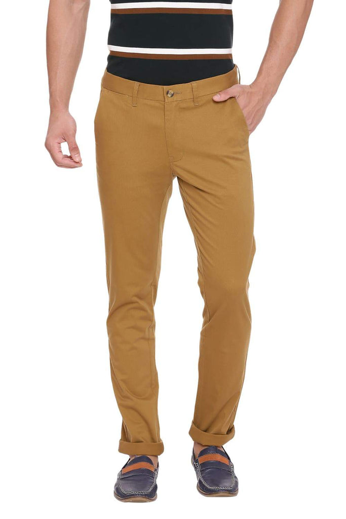 Basics Tapered Fit Antelope Khaki Stretch Trouser Front