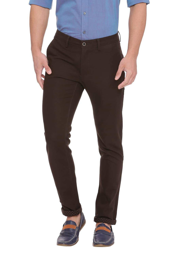 BASICS TAPERED FIT BELUGA BROWN STRETCH TROUSER-18BTR39034 (4491314266193)
