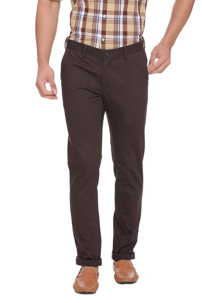 BASICS TAPERED FIT BELUGA GREY STRETCH TROUSER-18BTR39024 (4491307515985)