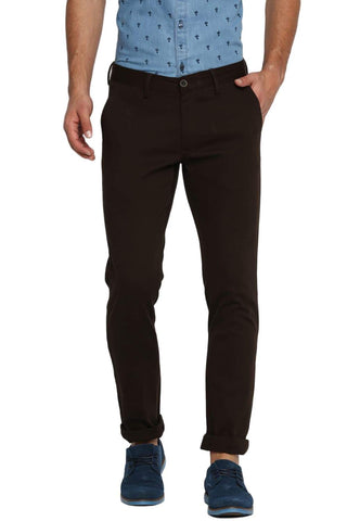 BASICS TAPERED FIT BLACK OLIVE STRETCH TROUSER-19BTR40071 (4491573821521)