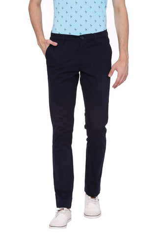 Basics Tapered Fit Blue Nights Stretch Trouser Front