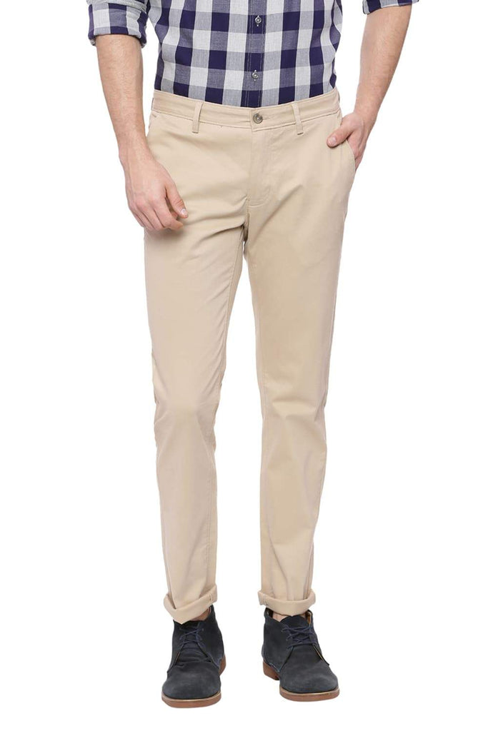 BASICS TAPERED FIT CANDIED GINGER BEIGE STRETCH TROUSER-18BTR37476 (4491099766865)