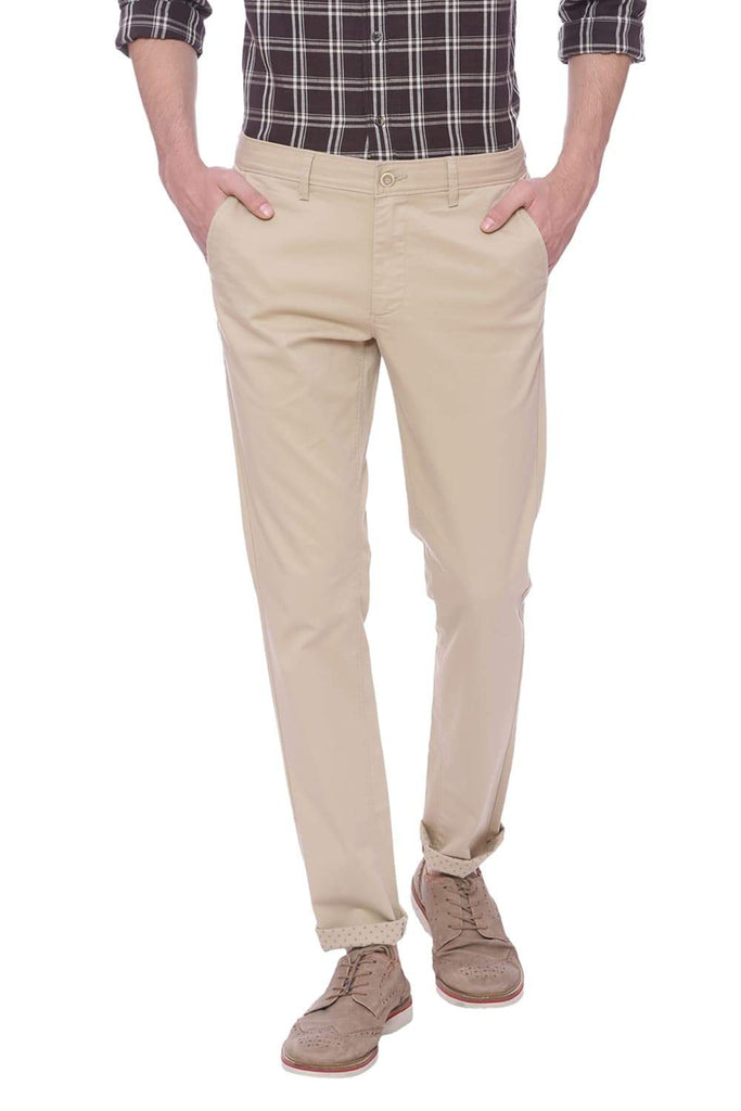 BASICS TAPERED FIT CANDIED GINGER KHAKI STRETCH TROUSER-18BTR37655 (4491100979281)
