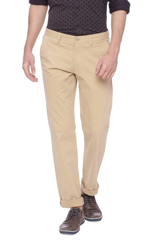 BASICS TAPERED FIT CANDIED GINGER KHAKI STRETCH TROUSER-18BTR38282