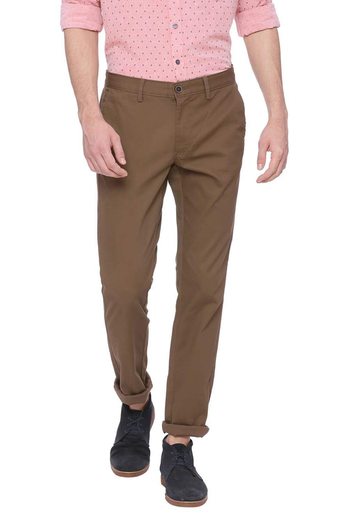 BASICS TAPERED FIT CANTEEN BROWN STRETCH TROUSER-18BTR37707 (4491103273041)