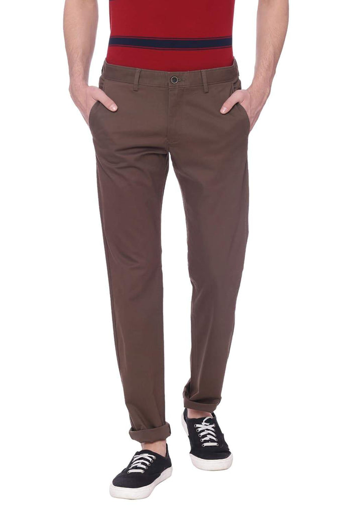 BASICS TAPERED FIT CANTEEN BROWN STRETCH TROUSER-18BTR38373
