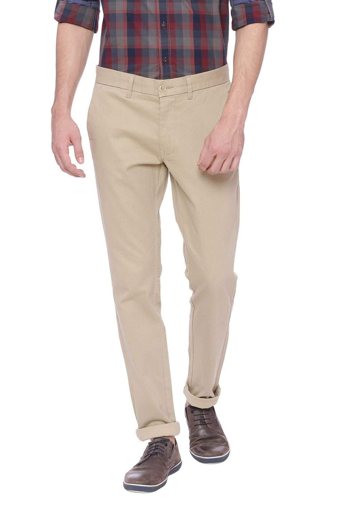 BASICS TAPERED FIT CEMENT KHAKI PRINTED STRETCH TROUSER-18BTR37519