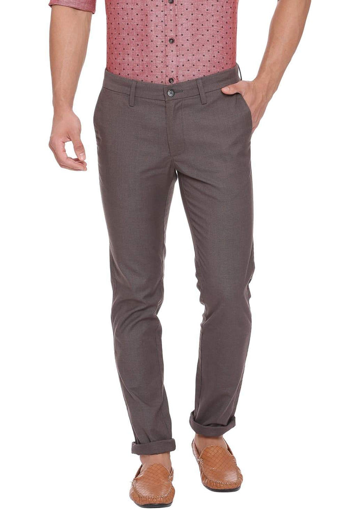BASICS TAPERED FIT CHARCOAL GREY STRETCH TROUSER-18BTR39099 (4491335925841)