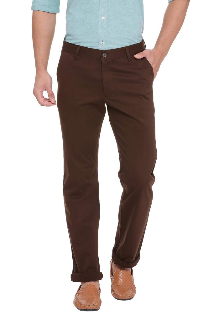 BASICS TAPERED FIT CHOCOLATE BROWN STRETCH TROUSER-18BTR39951 (4491552161873)