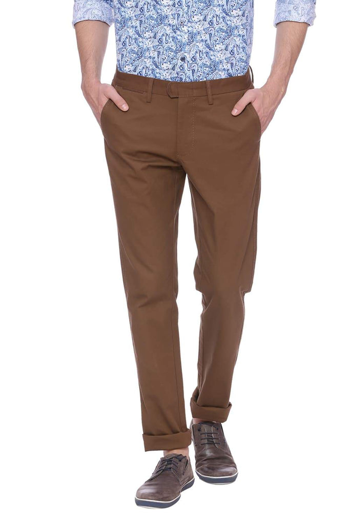 BASICS TAPERED FIT COFFEE LIQUEUR BROWN STRETCH TROUSER-18BTR37647 (4491100684369)