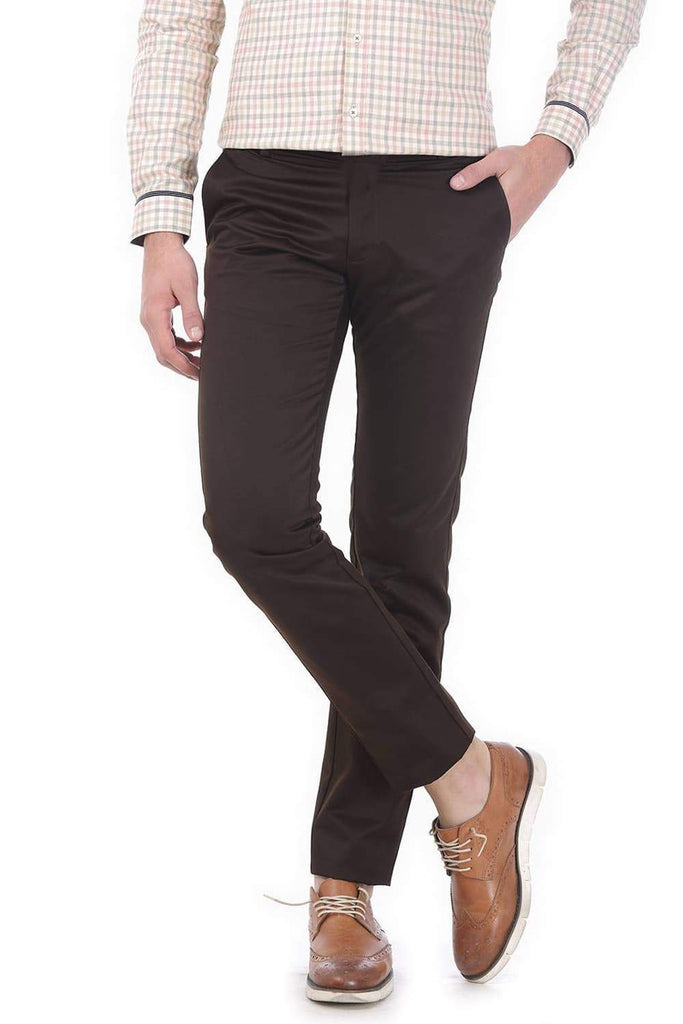 BASICS TAPERED FIT COFFEE SATIN TROUSERS-17BCTR38190 (4490931732561)