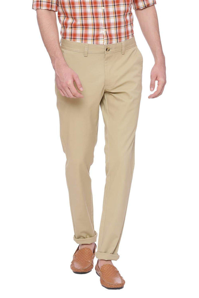 BASICS TAPERED FIT CORNSTALK KHAKI STRETCH TROUSER-18BTR37719 (4491103764561)