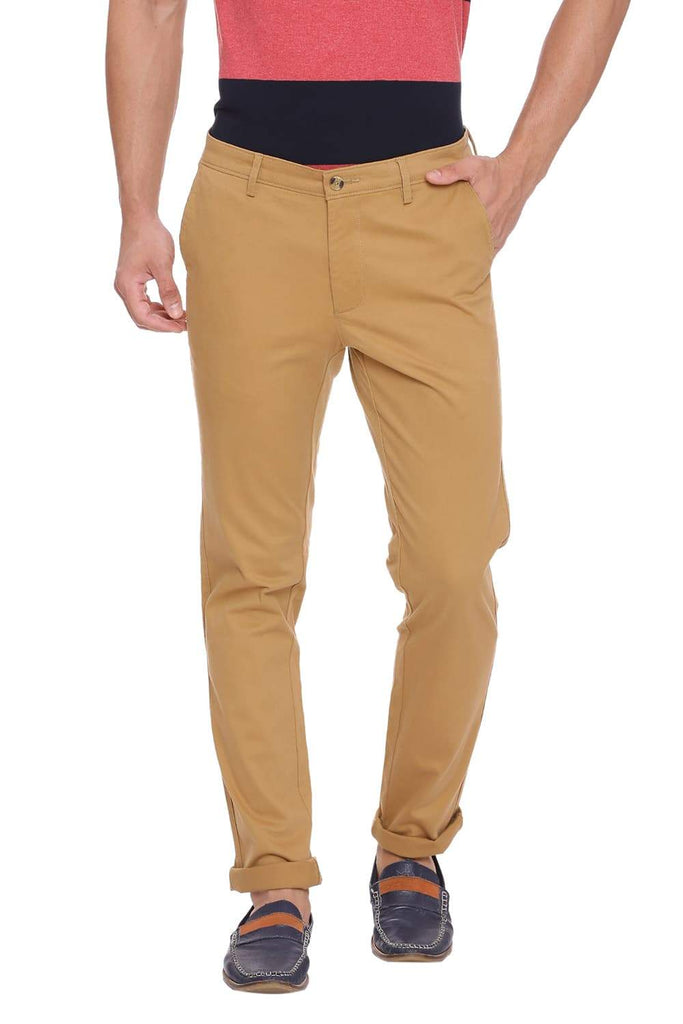 BASICS TAPERED FIT CURRY KHAKI STRETCH TROUSER-18BTR39122 (4491346903121)