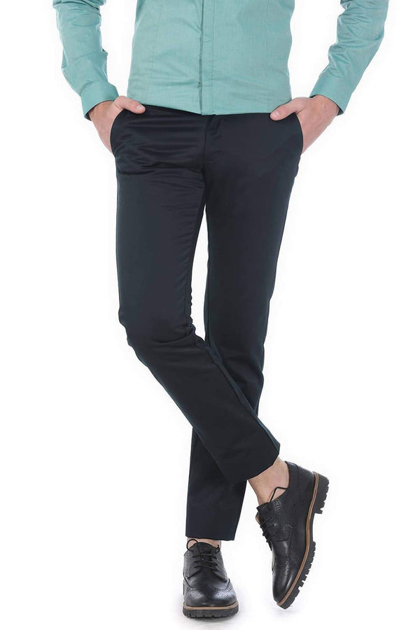 BASICS TAPERED FIT DARK GREEN SATIN TROUSERS-17BCTR38196 (4490936582225)