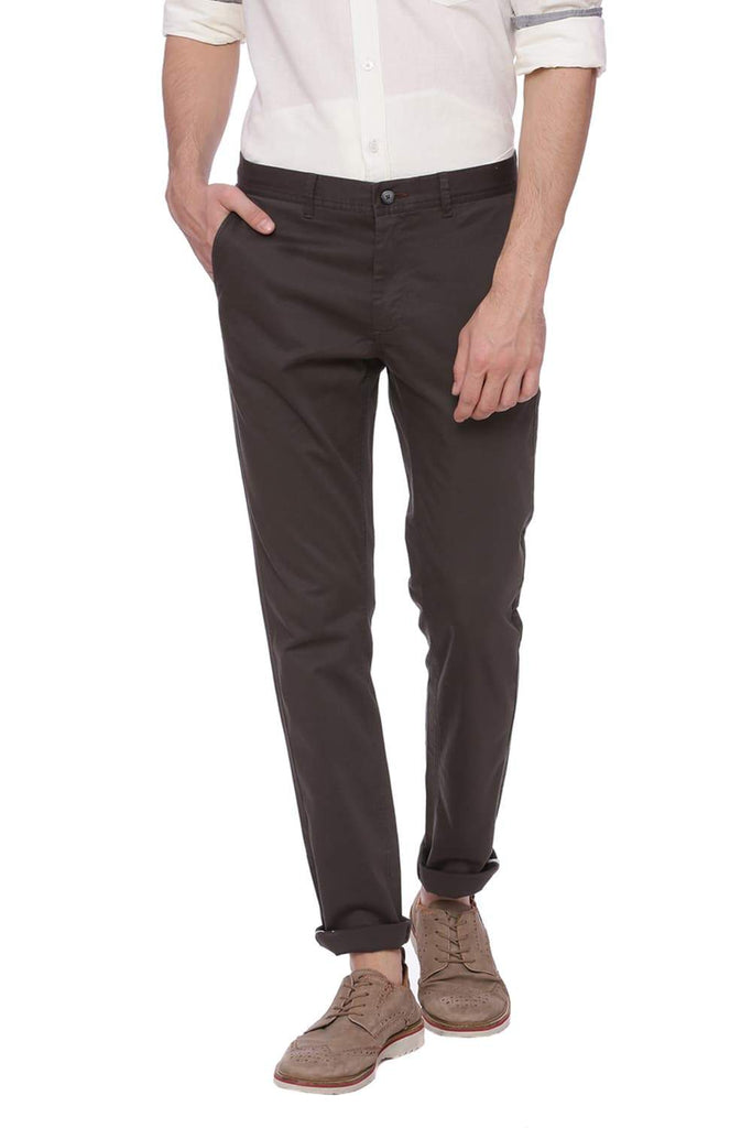 Basics Tapered Fit Dark Shadow Grey Trouser Front