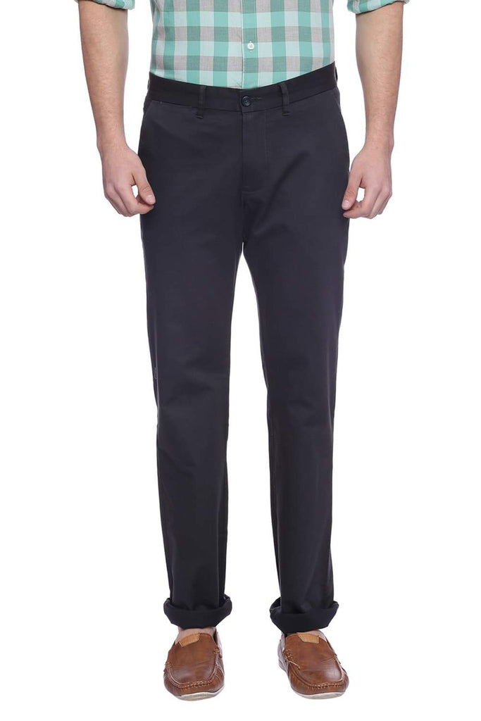Basics Tapered Fit Dark Shadow Navy Trouser Front