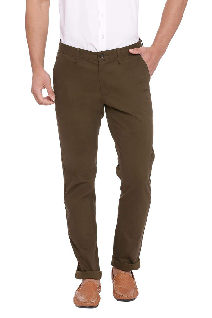 BASICS TAPERED FIT DEEP LICHEN STRETCH TROUSER-18BTR38953 (4491277795409)