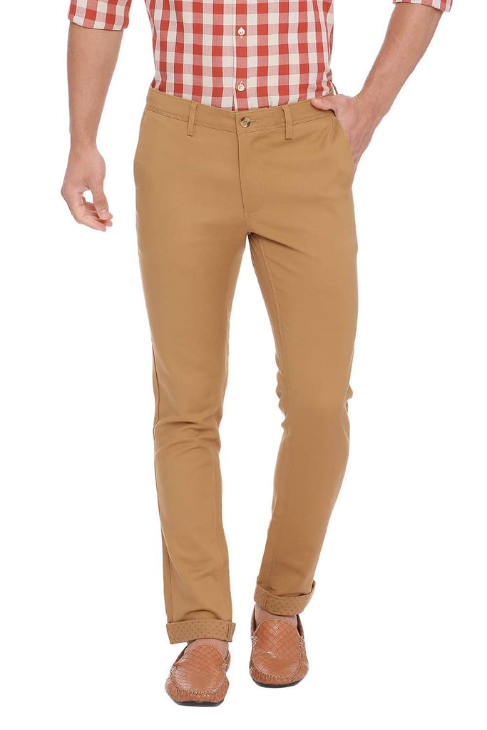 BASICS TAPERED FIT DIJON KHAKI STRETCH TROUSER-18BTR39032 (4491549245521)