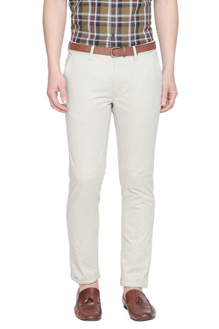 BASICS TAPERED FIT DOVE ECRU PRINTED STRETCH TROUSER WITH BELT-19BTR42078 (4491609243729)