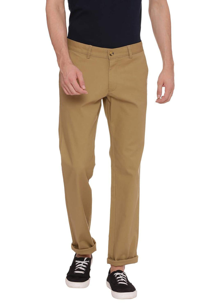 BASICS TAPERED FIT DULL GOLD KHAKI STRETCH TROUSER-18BTR38349 (4491119755345)