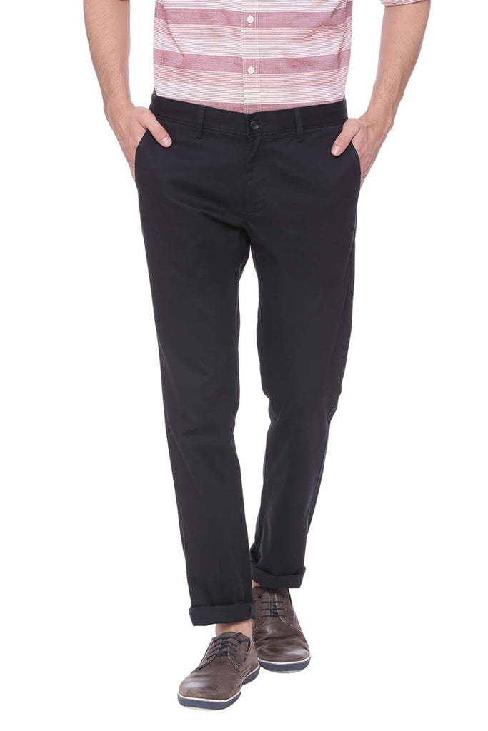 Basics Tapered Fit Ebony Navy Stretch Trouser Front
