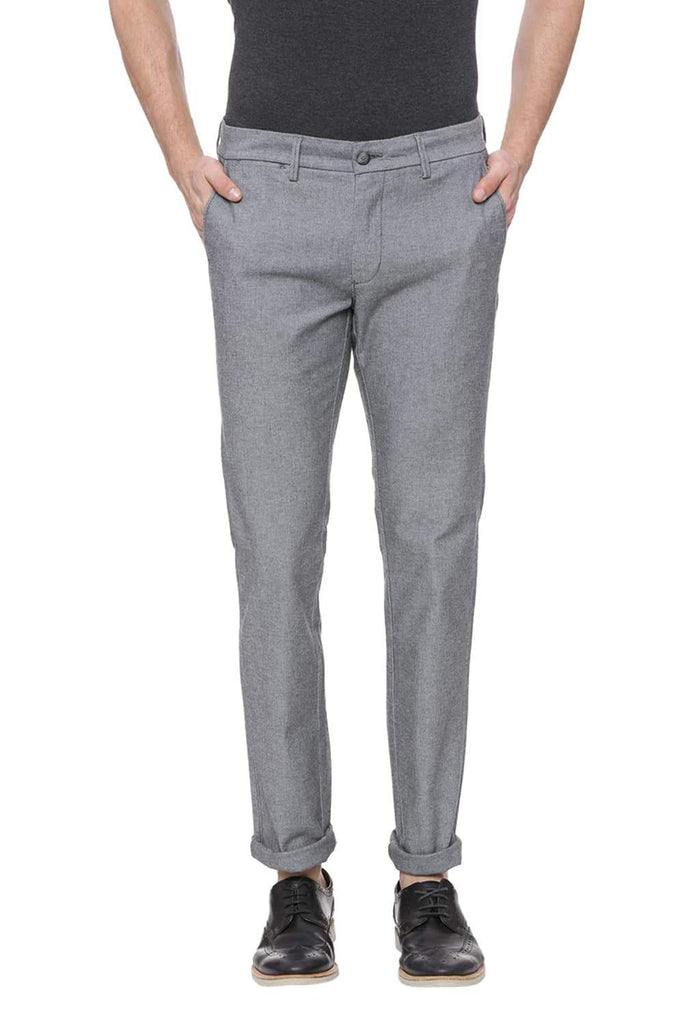 BASICS TAPERED FIT ELEPHANT SKIN GREY STRETCH TROUSER-18BTR37696 (4491055071313)