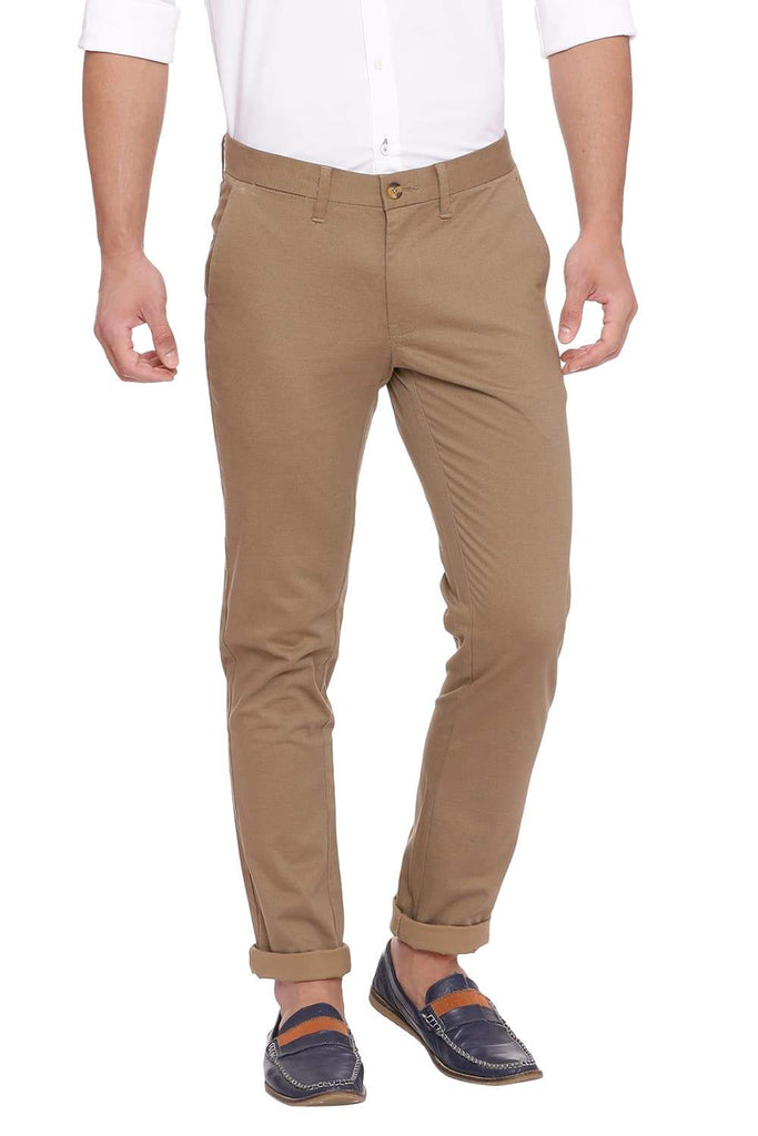 BASICS TAPERED FIT ERMINE KHAKI STRETCH TROUSER-18BTR39125 (4491350409297)