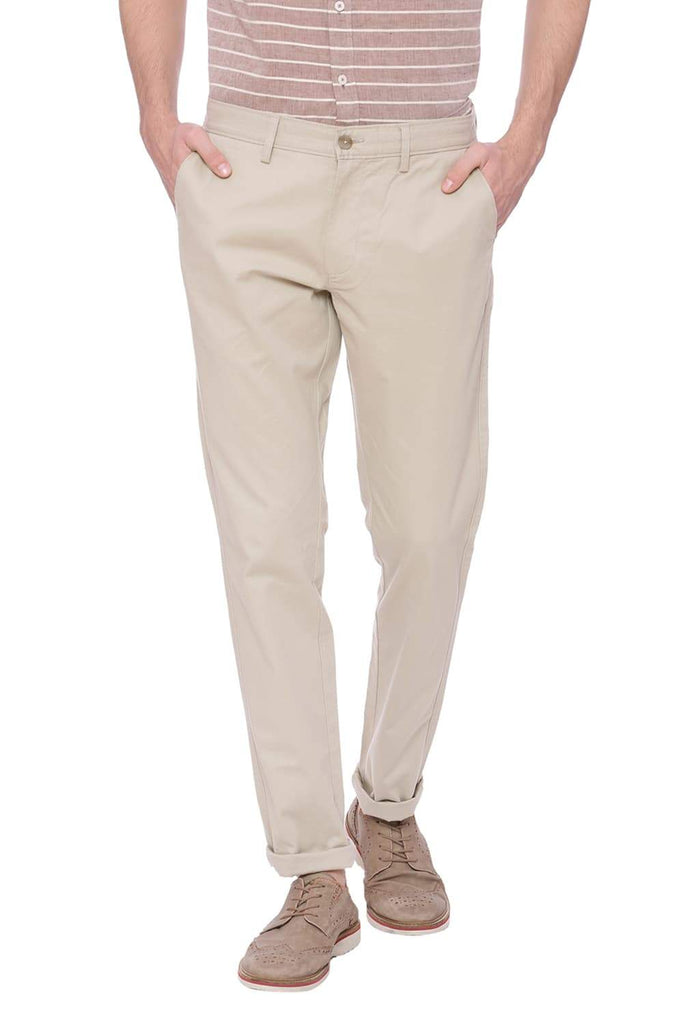 BASICS TAPERED FIT FEATHER GRAY BEIGE STRETCH TROUSER-18BTR37479 (4491100094545)