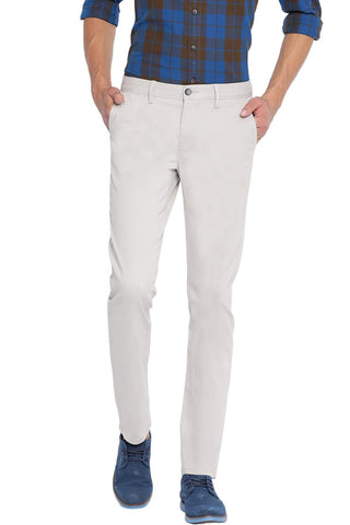 BASICS TAPERED FIT FEATHER GREY STRETCH TROUSER-19BTR40053 (4491573461073)