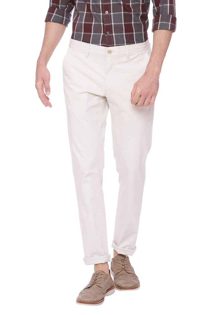 BASICS TAPERED FIT FOG ECRU STRETCH TROUSER-18BTR37653 (4491100782673)