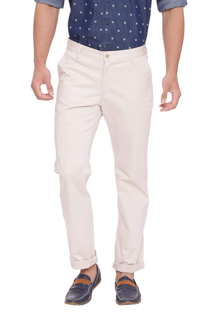 Basics Tapered Fit Fog Ecru Stretch Trouser Front
